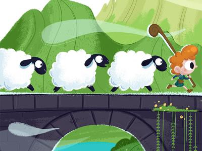 Highlands shepherd children book illustration nature run bridge mountain highlands scotland sheep kid boy