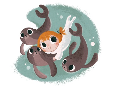 Selkie scotland ireland celtic folklore animal song of the sea nature children book illustration ocean sea seal child girl selkie