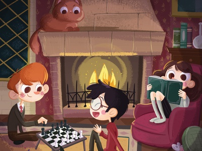 Gryffindor Common Room mouse rat cat crookshanks scabbers children book chilling game book fire chess room gryffindor ron hermione harry potter