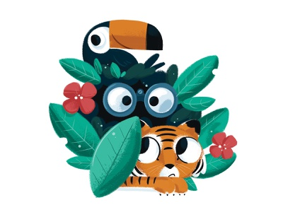 Jungle illustration wild animal tiger bird toucan plant binoculars explorer jungle
