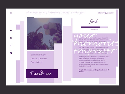 Crowdfunding Campaign Alzheimers color typography graphic design digital design daily ui ui design