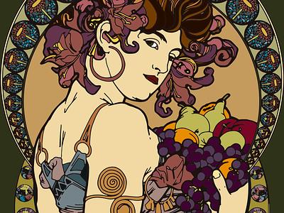 Art Nouveau Poster poster art artnouveau fruits draw poster design illustration poster art nouveau