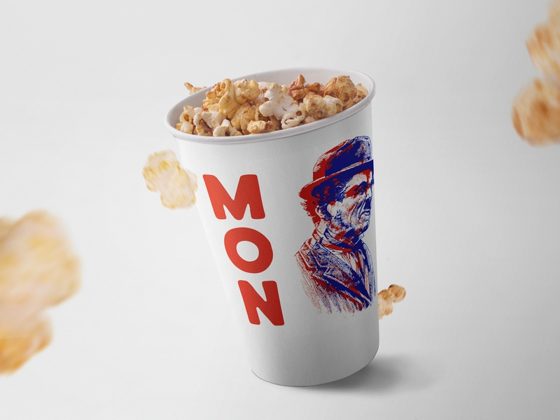MON Classic Films Festival film popcorn event branding film festival branding illustration design