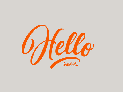 Hello Dribbble hola hi hello script lettering illustration