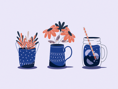 Flowers, Plants and juice cool chill grain colorpalette colors illustration