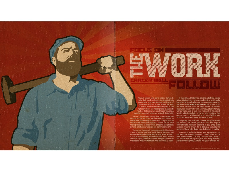 The Work work ethic the work type design typography self portrait artist statement poster art poster design digital design worker the digital butterfly project russian constructivism adobe illustrator layout deep texture graphic design magazine spread page layout digital illustration