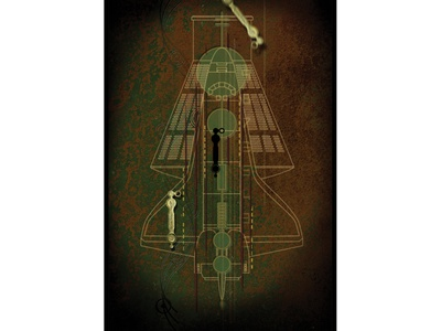 Return To Orbit Pocket Folder digital illustration discovery channel trompe loeil texture line drawing deep texture print design pocket folder press kit space shuttle illustration