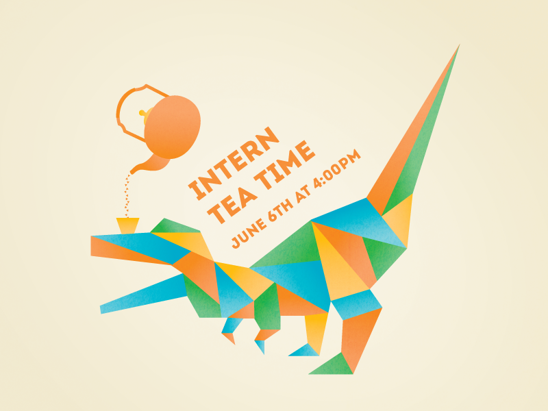 Intern Tea Time dinosaur trex tea intern geometry illustration flyer invitation