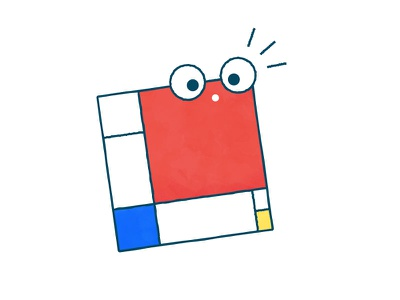 A Bewildered Mondrian character illustration painting mondrian