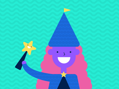 You're a wizard! star wand illustration colorful witch wizard