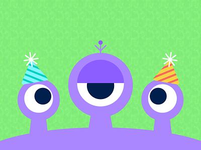 Alien Birthday Party illustration purple alien eyes party hat party aliens
