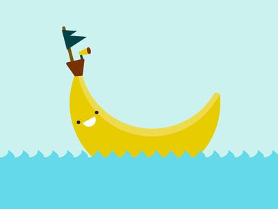 Banana Boat cute flag illustration ocean boat banana