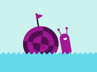 Set Snail illustration cute sailboat sail ocean boat snail