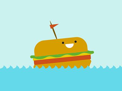 Burger at Sea sailboat boat ocean cute sea burger