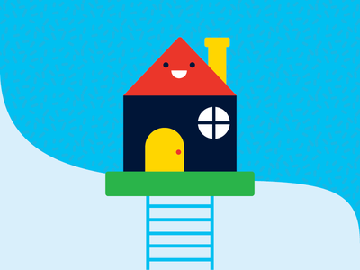 House in the Sky cute illustration face home house