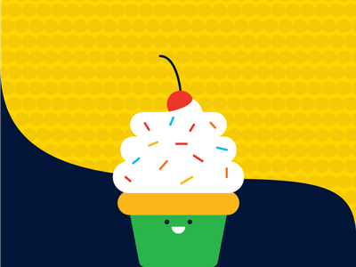 Cupcake frosting cherry illustration cute cupcake
