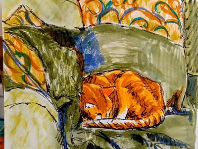 Jasper Napping hand drawn cat ink pens sketch illustration