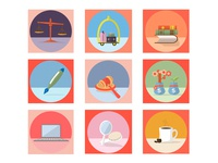 Mini Illustrations/Icons of Different Places