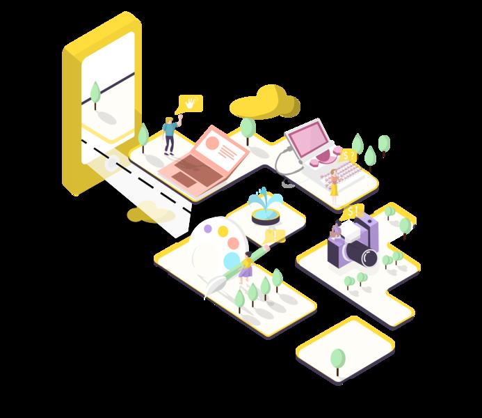 Nearal App: Freelancer's Community branding design illustration app