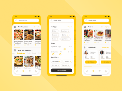 HiCook Recipes App recipes healthy food design mobile ios concept chief ux ui recipe card recipe app recipe food card food app food kitchen cooking foodies