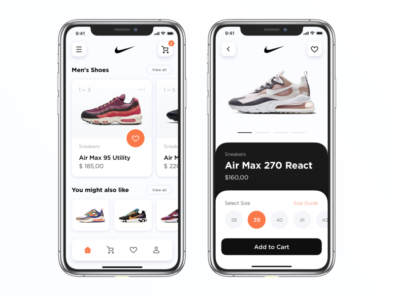 Nike App ios concept app ux ui e-commerce app user experience air max shopping screens ecommerce concept add to cart product card item card select size sneakers shop store ecommerce shoes nike