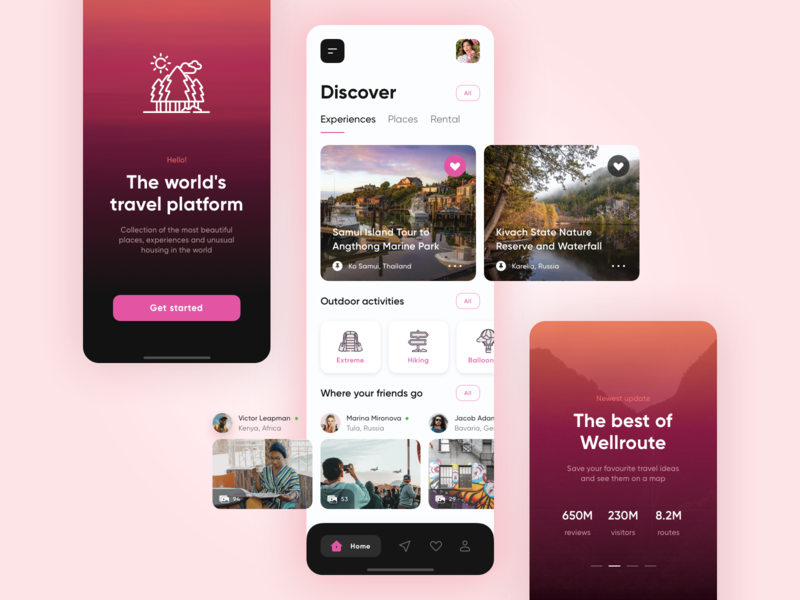 Wellroute App - Travel Service and Social Network design mobile ios concept app ux ui user experience start screen walkthrough adventure photo albums traveling feed booking tours trip advisor travel platform social travel service