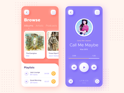 Playbox - Music App ux ui clean stream feed user experience listening music now playing player music controls podcasts artists music apple music library albums playlists lyrics songs music app