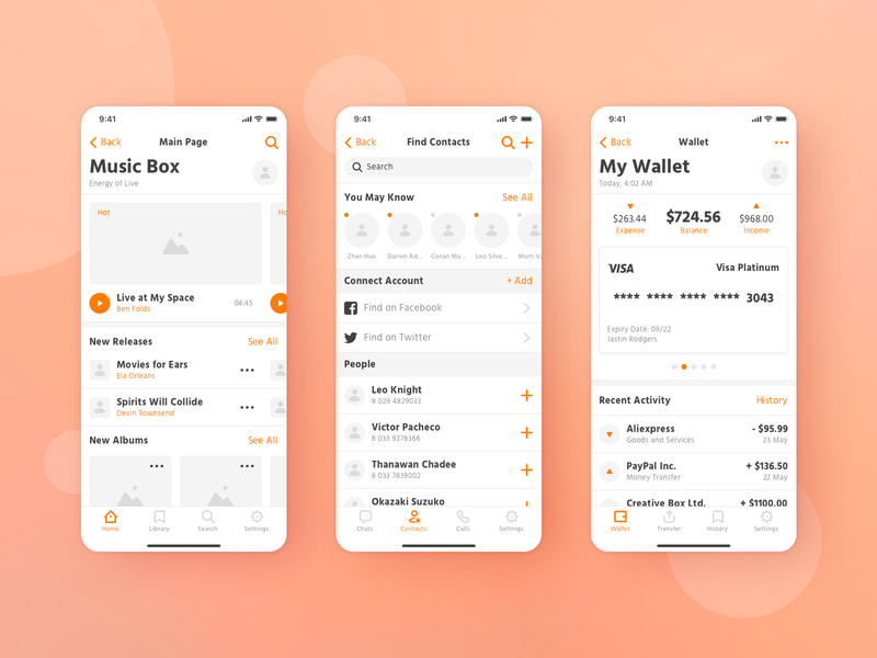 Makeapp Wireframe Kit (Free Demo) ui kit wireframes contact music wallet templates mobile prototyping