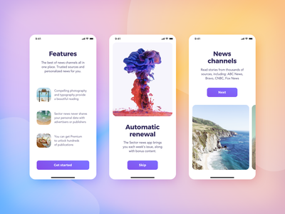 Sector UI Kit News (Walkthrough - Demo) get started start screens ui kit news walkthrough
