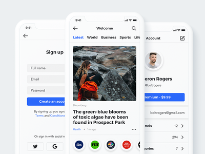 Sector UI Kit. News app prototype app design sketch template xd template digital goods sketch news adobe xd news news ui kit news template news app news feed news