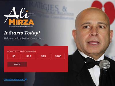 Ali Mirza New York Candidate Website user interface political website political political campaign politics website design website