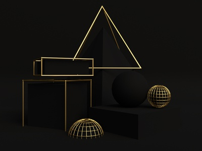 Gold shapes geometric design colors abstract illustration cinema4d 3d art arnold