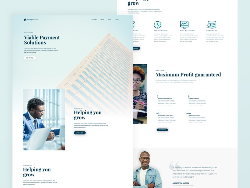 Landing Page UI for Synergy Payments design branding illustration interface design solutions payment white clean minimal icon money finance adobexd xd landing ui ux ux-ui uidesign