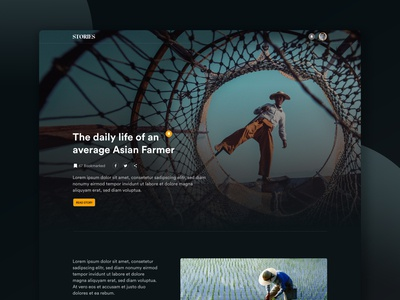 Stories storybook read asia stories newsletter uidesign xd dark story blog news shapes minimal design ui