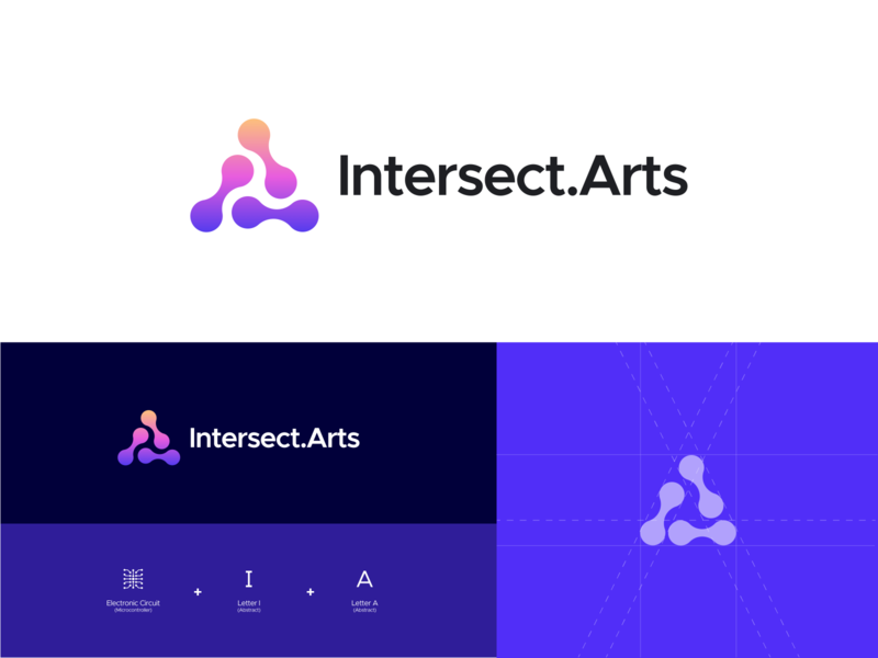 Intersect.Arts Logo illustration clean vector design circuitry circuits engineer circuit board circuit art purple logodesign minimal gradient color modern gradient logo microcontroller electronic