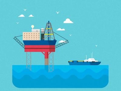 Drilling Rig Platform Illustration retro vector art cargo sea illustration gas oil