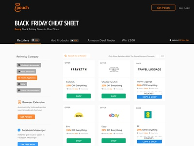 Black Friday Discount Page voucher code feed filter ux ui uidesign
