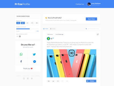 Competition Website app design filter feed ui