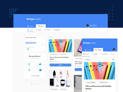 Prizeprofile | Competition Feed desktop mobile icons tabs navigation bar navigation design navigation menu navigation social share tags london ui designers ui designer ux design ux-ui ui  ux design uidesign product feed feed