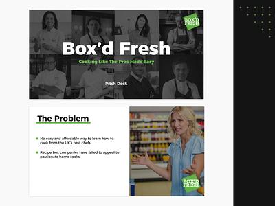 Box'd Fresh | Pitch Deck creative design design slide design investment startups london investor pack pitch deck slides keynote powerpoint deck