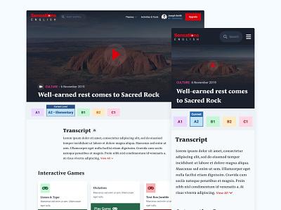 Sensations English | Video Lesson menu nav videogame edtech video mobile desktop ui design design ui