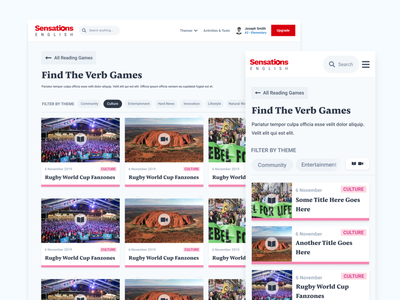 Sensations English | Directory menu card articles news newsfeed mobile navigation menu ux ui designer uidesigner london feed desktop ui ui design design uidesign