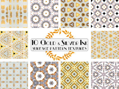 Gold and Silver Ink Pattern Textures