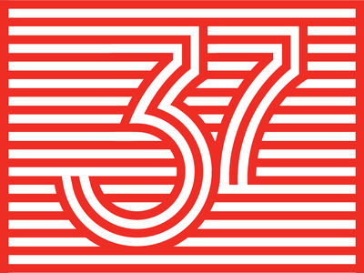 37th Birthday stripes 37 numbers typography lettering