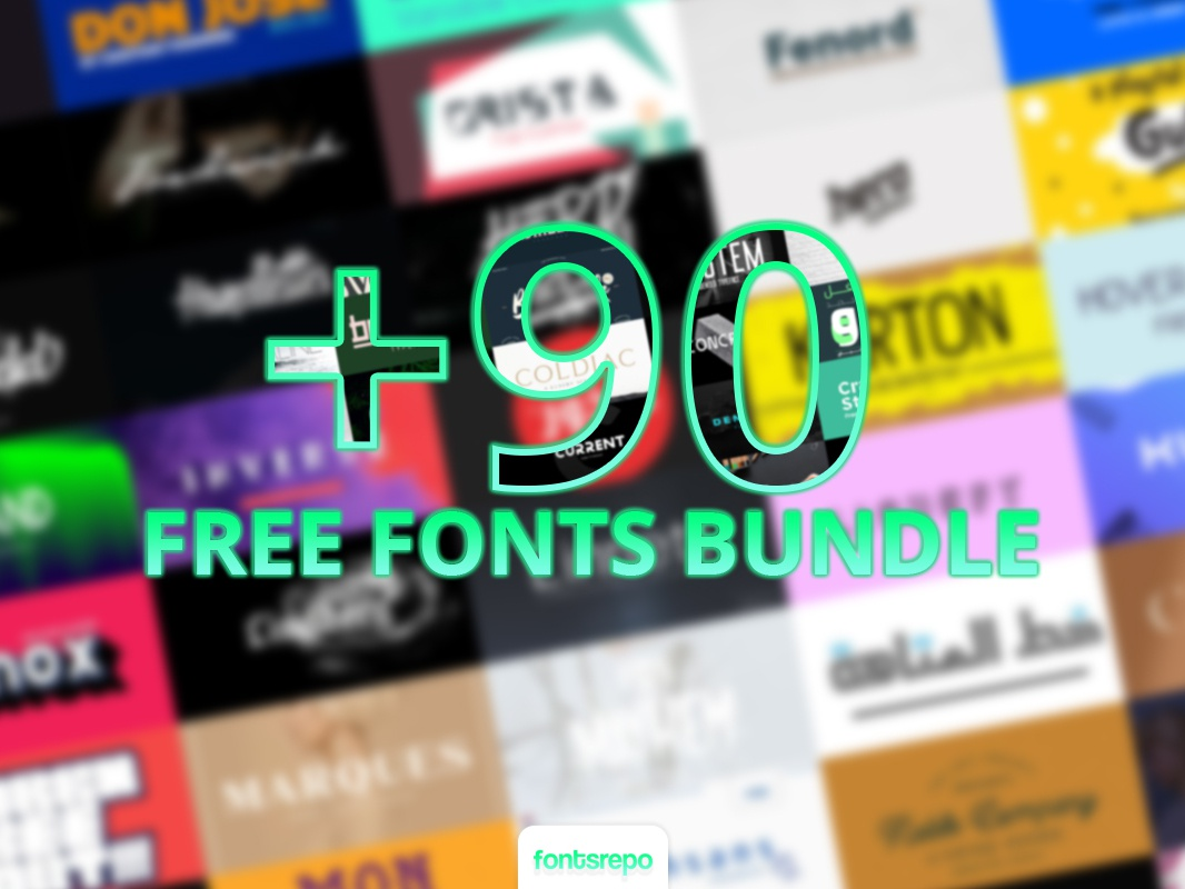 90 Free Fonts Bundle font collection font design font bundle free font download
