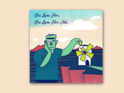 She Loves Him, She Loves Him Not... ipad funny procreate bitmap illustrations flat comic character design cartoon illustration character 2d