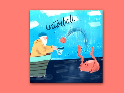 Waterball procreate bitmap illustrations flat comic character design cartoon illustration character 2d