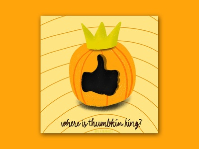 Where is the Thumnkin King? funny cartoon drawing graphic texture editorial halloween pumpkin procreate character illustration colorful