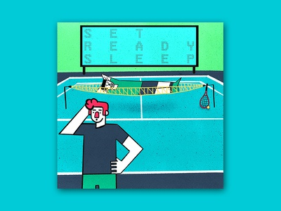 Set, Ready, Sleep funny cartoon drawing graphic texture editorial sport tennis procreate character illustration colorful