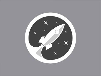 dark sky logo caracter design circle dark sky rochet vector illustration design cartoon